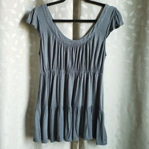 Muted Teal Flare Tunic Top